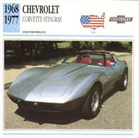 Fiche Auto  -  Chevrolet Corvette Stingray    -  1973  -  Carte De Collection - KFZ