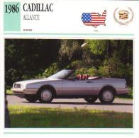 Fiche Auto  -  Cadillac Allante    -  1986  -  Carte De Collection - KFZ