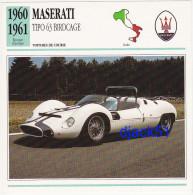 Fiche : Voitures De Course / MASERATI TIPO 63 BIRDCAGE / 1960 - 1961 / Epoque Classique / Italie - Automobile - F1