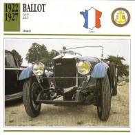 Fiche Auto  -  Ballot 2LT   -  1924  -  Carte De Collection - KFZ