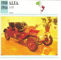 Fiche Auto  -  A.L.F.A. 24 Hp    -  1912  -  Carte De Collection - KFZ