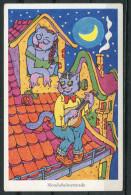 """WH Signierte CPSM Color AK Katzen,Cats """"Mondscheinserenade  """" 1 AK Blanco - Geklede Dieren"""