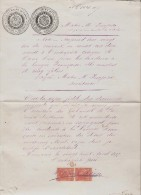 Estado Bermudez.Cumana. Document 1887. Timbres Fiscaux. Consulat De France. - Venezuela