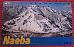 Telefonkarte Asien Japan NTT Meer Stadt Naeba Berge Landschaft Telephone Card 1992 - Gebirgslandschaften