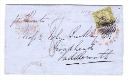 New South Wales 1852 Brief Nach Saddlewarth - Mit Englischem Attest - - 1850-1906 New South Wales