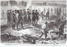 GRAVURE D Epoque  1864 GUERRE DE SECESSION American Civil War  PETERSBURG   FEDERAUX ET  CONFEDERES - Documentos Antiguos
