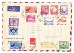 R-Flug-Brief 4-4-1960 Von Hotel Metropol Karachi Nach CH Zürich Mit AK-Stempel - Pakistan
