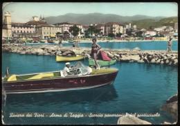ARMA DI TAGGIA  Scorcio Con Motoscafo In Primo Piano - Viaggiata - Negativo Bianco E Nero Colorato A Mano - Italien