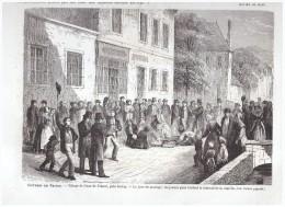 GRAVURE D Epoque  1864   COUR DE FRANCE  Pres De JUVISY    Jour De Mariage  On Brule Le - Vieux Papiers