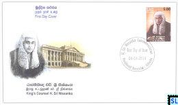 Sri Lanka Stamps 2014, Kings Counsel H. Sri Nissanka, FDC - Sri Lanka (Ceylon) (1948-...)