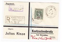 Road Town Tortola R-Brief AU.9.1910 Nach Dresden DE Via New-York - Prüfzeichen : Köhler - Iles Vièrges Britanniques
