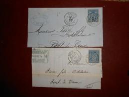 RR-19_fragments,2 Cachets Differnt De Cette Sur Sage.pas Commun - 1876-1898 Sage (Type II)