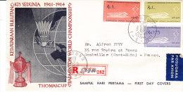 INDONESIE, Badmington 1961, Serie Fdc