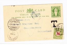 Virgin Islands Ganzsache Nach CH Chaux De Fonds Taxiert 10 Rp. 18  VII 1903 - Iles Vièrges Britanniques