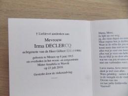 Doodsprentje Irma Declercq Menen 8/6/1915 Wervik 23/7/2010 ( Gilbert Ide ) - Religione & Esoterismo