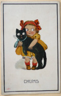 Litho Illustrateur Fille Fillette Et Gros Chat Noir Voyagé 1912 Timbre Postage Usa Flamme Warrensburg - Tarjetas Humorísticas