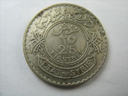SYRIA  25  PIASTRES  1929  SILVER COIN  LOT 14 NUM 25 - Syrie