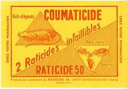 BUVARD  - COUMATICIDE  -  RATICIDE50   -  DIM / 21 X 13 CM - Produits Pharmaceutiques