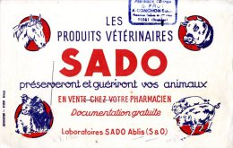 BUVARD  -  LES PRODUITS VETERINAIRES   -  SADO  -   LABORATOIRES SADO ABLIS  - DIM / 22 X 13 CM - Produits Pharmaceutiques