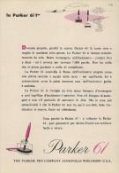 # PARKER 61 FOUNTAIN PEN WISCONSIN 1960s Italy Advert Publicitè Publicidad Reklame Penna Fuller Pluma Stylo Encre Ink - Pens