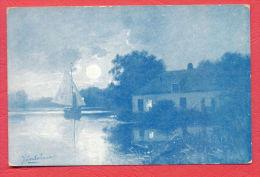 141632 / Artist - FENHAUER - LANSCAPE RIVER SAIL BOAT HOUSE - MORKS & GEUZE , DORDRECHT , SERIE 32 / 6 - Schilderijen