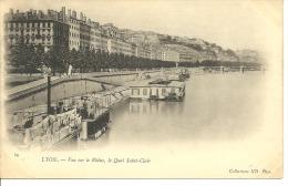 LYON.....vue Sur Le Rhône, Le Quai Saint Clair...années 10/20???...14 X 9 - Lyon