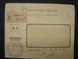 LetDoc. 76. Enveloppe Recommandée à Evreux. Contributions Directes - Frankrijk