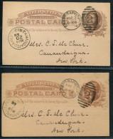 1886 USA Grand Rapids - Canandaigua New York Stationery Postcards X 2