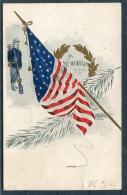 1907 US Cavalry 'In Memoriam' Stars & Stripes Flag Patriotic Postcard - United States