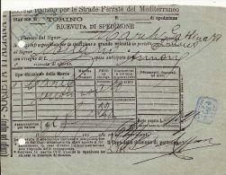 STRADE FERRATE MEDITERRANEO TORINO RICEVUTA SPEDIZIONE 1893 - Autres
