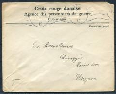 1915 Denmark Red Cross POW Prisonniers De Guerre Cover - DiósgyÅ'r Hungary - Covers & Documents