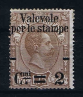 "Italy: 1890 Soprastampata ""Valevole Per Le Stampe"", Sass. N. 55 Mi 66 MH/*"