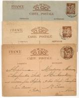 3 ENTIERS  Couleurs Différentes, ARGENTON S CREUSE En 1941. - Cartes Postales Types Et TSC (avant 1995)