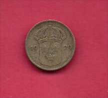 SWEDEN,  1929, Circulated Coin XF , 10 Ore, 0.400  Silver , KM 755, C2051 - Sweden