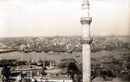 Türkei STAMBOA Corne D'Or Et Galata, Fotokarte Gel.1929, Seltene Frankierung Mit Wertüberdruck - Türkei