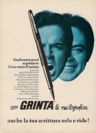 # GRINTA PEN 1960s Italy Advert Publicitè Publicidad Reklame Penna Fuller Pluma Stylo Encre Ink - Penne