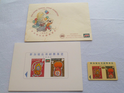 1996 SINGAPORE ZODIAC RAT STAMPS PHONECARD WITH GREETING CARD (A-018) - Telefonkarten