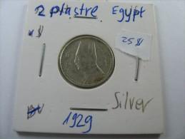 EGYPT 2  PIASTRES 1929  SILVER COIN LOT 15 NUM 3  . - Egypte