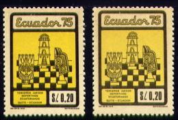 Echecs  + Variété (jaune Pale) Timbre Neuf  Equateur 1975  Y:922 Cote/value:9€ Chess Stamp MNH  Ecuador - Echecs