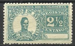 COLOMBIA KOLUMBIEN 1899 Einschreibemarke Registration Antioquia General Cordoba - Kolumbien