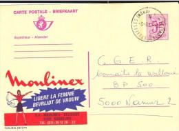 "BELGIQUE - CARTE ENTIER POSTAL ILLUSTREE PUBLICITAIRE ""PUBLIBEL"" 2643FN De MOULINEX - Stamped Stationery"