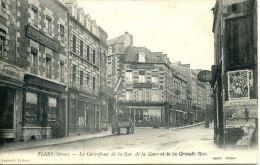 N°37954 -cpa Flers -le Carrefour De La Rue De La Gare Et De La Grande Rue- - Flers