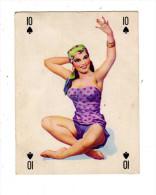 UNE CARTE A JOUER PIN UP GRACIEUSE SOURIRE 10 DE PIQUE FEMME  Années 50 - Other Collections