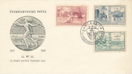 Czechoslovakia / First Day Cover (1949/06 B) Praha 1 (b): 75th Anniversary Of The Universal Postal Union (UPU) - UPU (Union Postale Universelle)