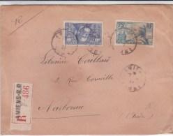 1937 - ENVELOPPE RECOMMANDEE De AMIENS (SOMME) Pour NARBONNE - Marcofilie (Brieven)