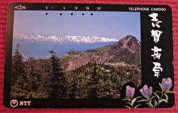 Telefonkarte Asien Japan NTT Landschaft Berge Blumen Telephone Card 1992 - Gebirgslandschaften