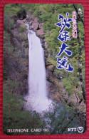 Telefonkarte Asien Japan NTT Landschaft Berge Wasserfall Telephone Card 1992 - Gebirgslandschaften