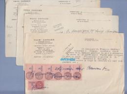4 Courriers Avec Timbre Fiscal De 1949 - AVRANCHES ( Manche ) - Henri Garnier , Greffier De Paix Et Commissaire Priseur - Fiscaux