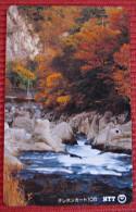 Telefonkarte Asien Japan NTT Landschaft Berge Fluß Telephone Card 1990 - Gebirgslandschaften