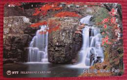 Telefonkarte Asien Japan NTT Landschaft Berge Ninai Fall Wasserfall Telephone Card 1992 - Gebirgslandschaften